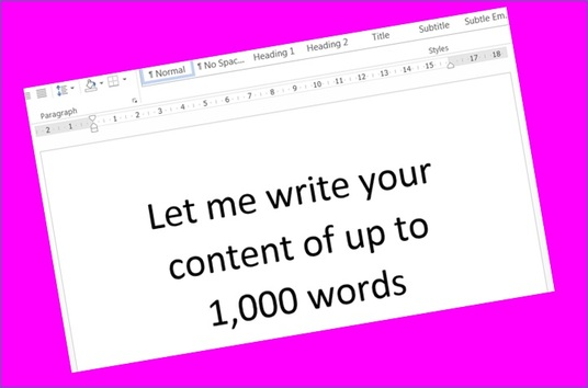 I will write an article or other content up to 1,000 words