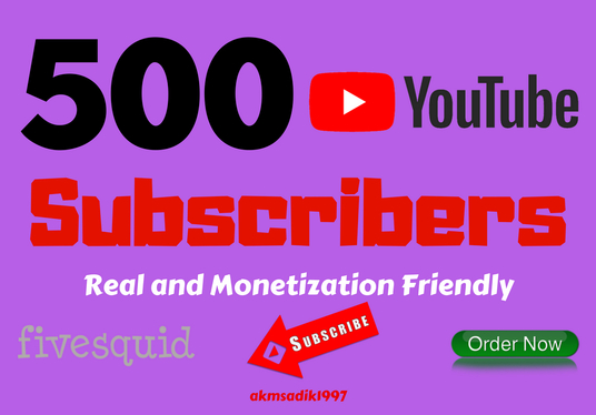 I will give you 500 YouTube Subscribers with Monetization Guarantee