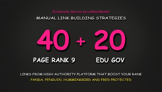 I will Do 40 Pr9 + 20 Edu Gov High Trust Authority Safe SEO Backlinks