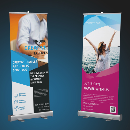 I will design corporate roll up banner or feather flag with unlimited revision