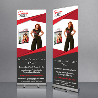 design corporate roll up banner or feather flag with unlimited revision