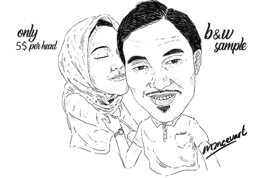 I will draw black & white caricature of photos with unlimited revisions