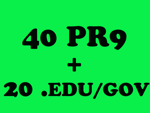 Skyrocket your seo Google Rankings with 40 PR9 + 20 EDU/GOV high PR safe backlinks