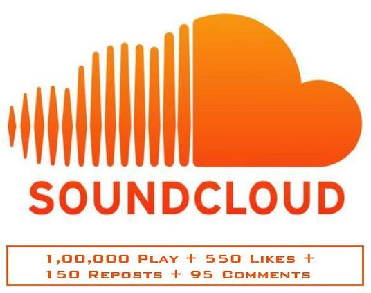 I will Provide Sound Cloud 1,00,000 Play + 550 Likes + 150 Repost + 95 Comments