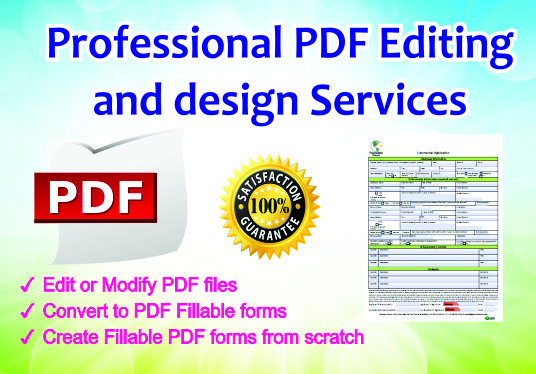 I will Edit Pdf, Convert To Or Create Fillable Forms