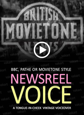 record a 100 word newsreel voiceover in the style of vintage BBC, Pathe or Movietone