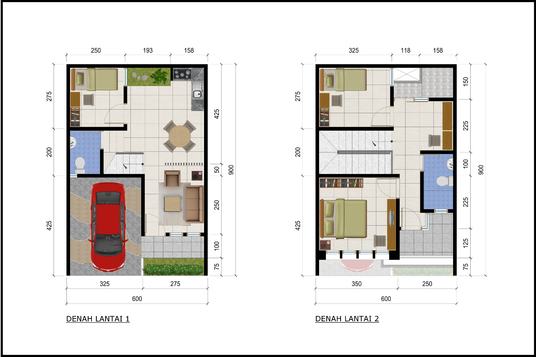 I will create colored 2d floor plan