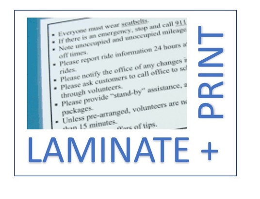 I will print and laminate up to 10 A4 (210x297mm) pages and send them to you (free delivery)