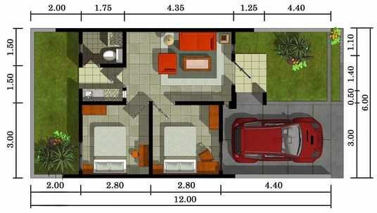 I will design a 2D floor plan for a type 36 house with a minimalist concept