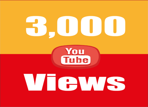 give 3,000 super high quality YouTube Views real and permanent