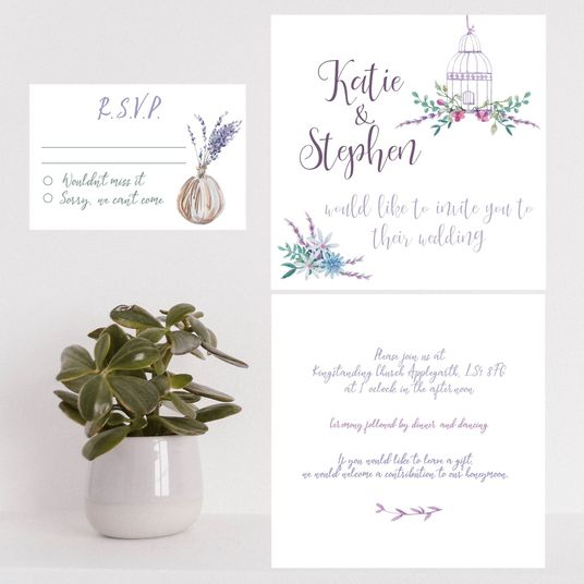 I will send you personalised PDFs  of beautiful birdcage wedding invitation and RSVP card designs