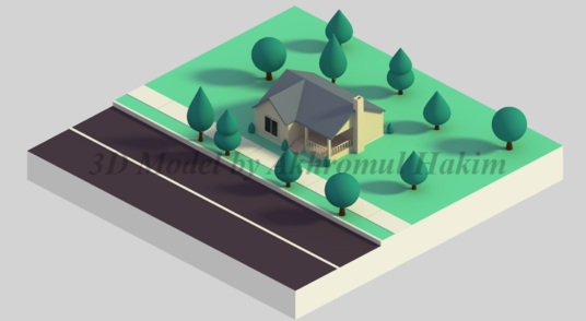 I will create 3D model with isometric style