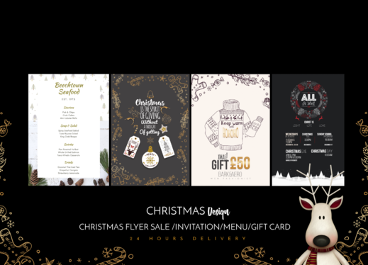 create a Christmas Design Flyer Sale, Invitation or Giftcard