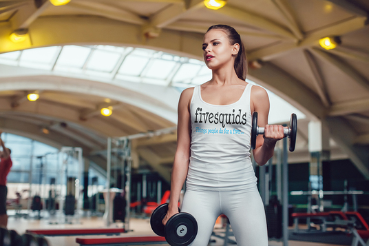 I will Put You Logo Design On Professional Female Fitness Model Workout In Gym
