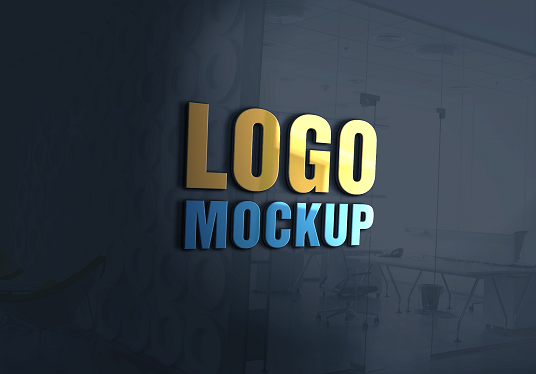 I will 3D Glass Wall Logo Mockup