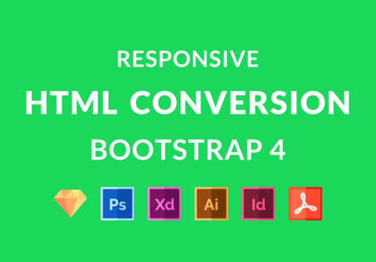 I will Convert Xd, Sketch, Psd To Html Responsive Bootstrap 4