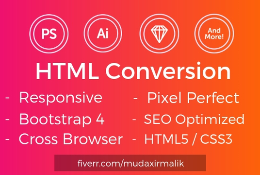 I will Convert PSD To Pixel Perfect HTML Using Bootstrap 4