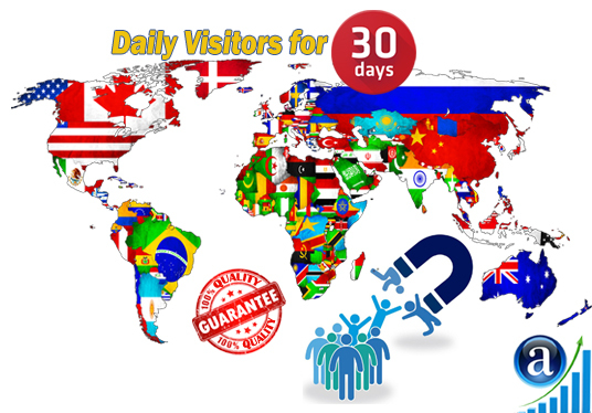 I will send daily web visitors for 30 days with search keyword and target country web traffic