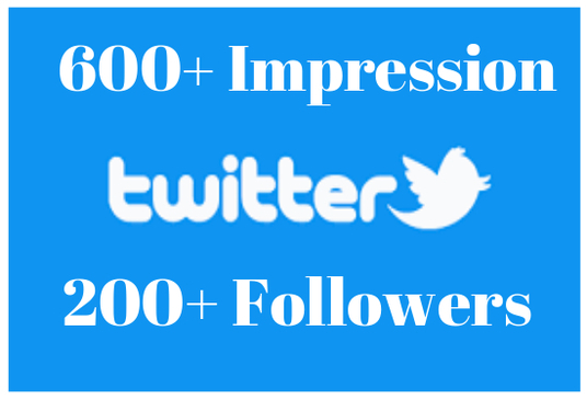 add real 600+ twitter impressions and 200+ twitter followers