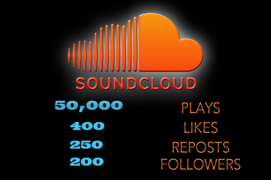 I will Give You 50,000 Soundcloud Plays + 400 Likes + 250 Reposts + 200 Followers To Your Soundcl