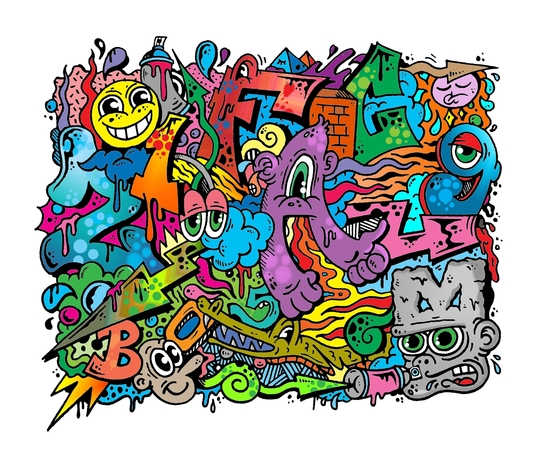 I will draw amazing Doodle Art Graffiti cartoon illustration