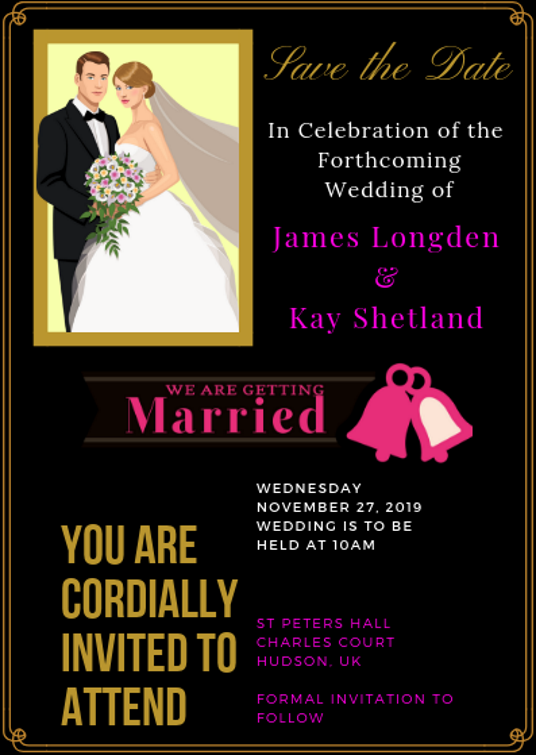 I will design a professional save the date personalised wedding card invitation