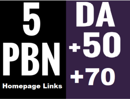 I will do 5 Pbn Da 50 to 70 Homepage Dofollow Links