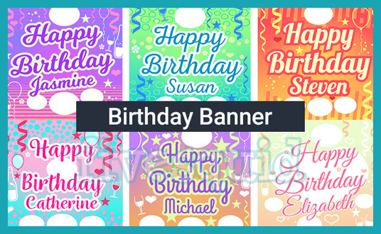 create a happy birthday banner for 10 thegraphician fivesquid