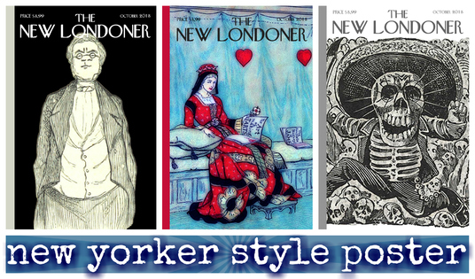 create brilliant New Yorker style vintage magazine cover good for social media, cards, holidays