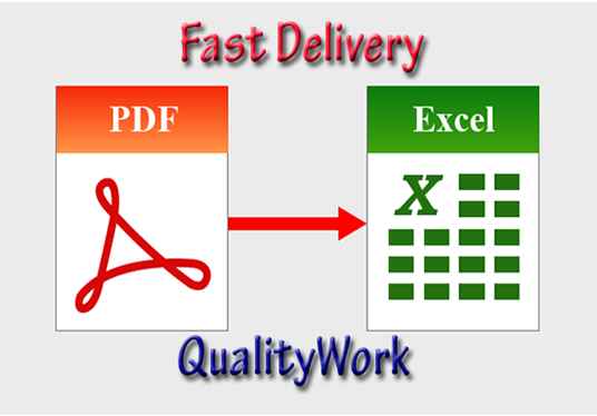 I will Convert Or Retype PDF Doc Into Excel Word Files