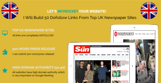I will Build 50 Dofollow Links From Top  UK Newspaper Sites