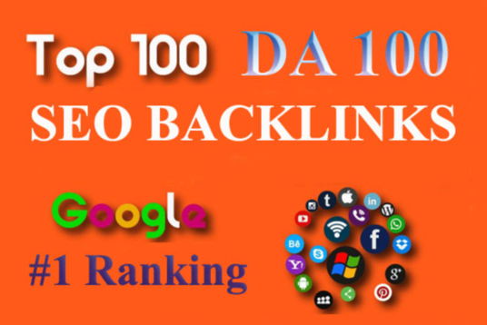 Build Top 100 Unique Domain SEO Backlinks On Da100
