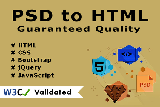 I will convert responsive PSD to HTML