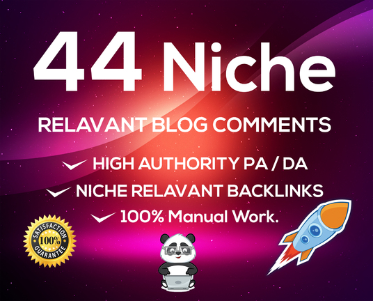 I will provide 44 niche relevant blog comment high quality