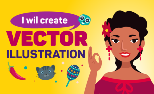 I will Draw Awesome Flat Vector Illustration