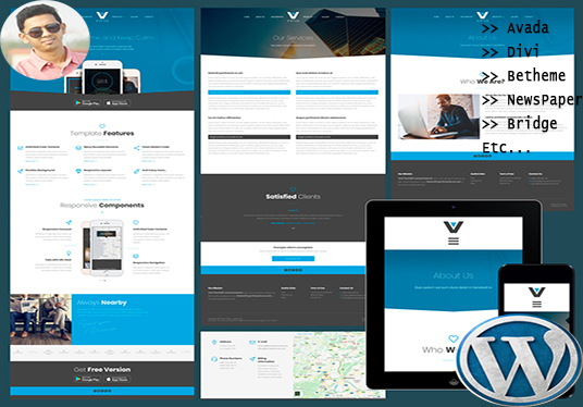 do Avada, Divi, Be and Bridge themes install and  Customization