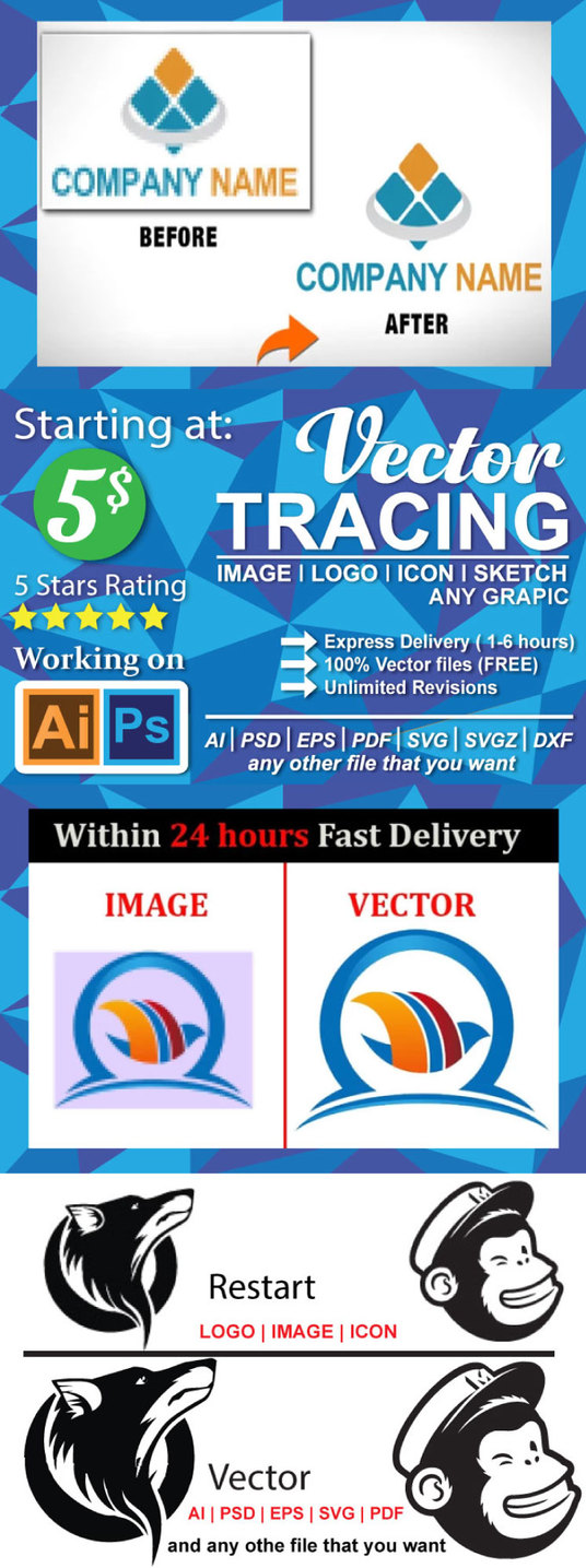 I will vectorise  your logo and icon into vector file in 24 hours