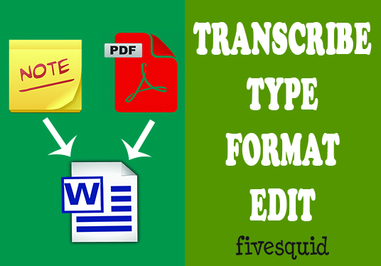 I will type, transcription, handwritten, scanned document to Word