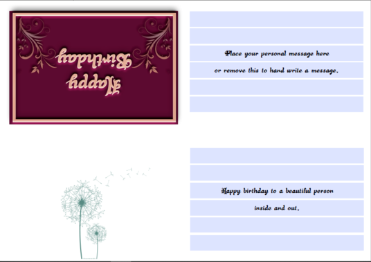 I will design an A4 fillable,  card that can be folded to A6