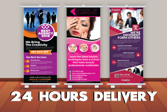 I will create a killer roll up banner design
