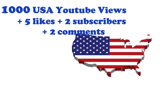 I will send 1000 USA  Youtube Views  + 5 likes + 2 subscribers + 2 comments  with EXTRAS