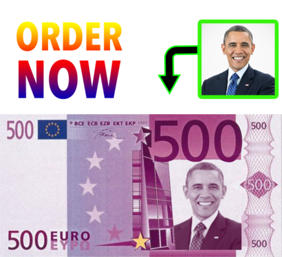 put your photo on 500 Euro note  as graphic designer