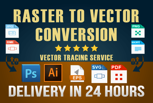 I will  convert any RASTER image to VECTOR file in about 24 hours