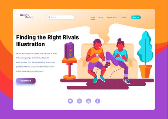 I will design fabulous flat dribbble style illustration for web or landing page