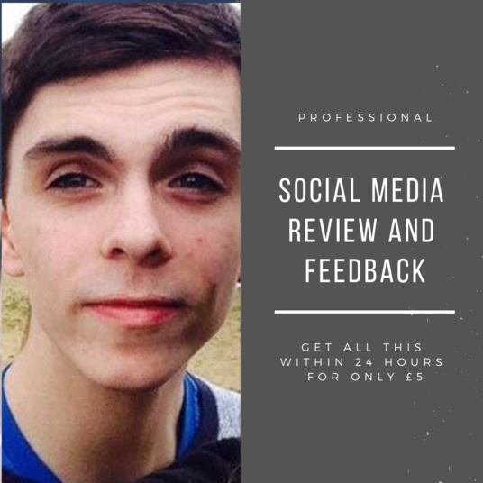 I will review and give feedback on your social media site