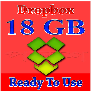 provide pre upgraded 18gb dropbox account (ready to use)