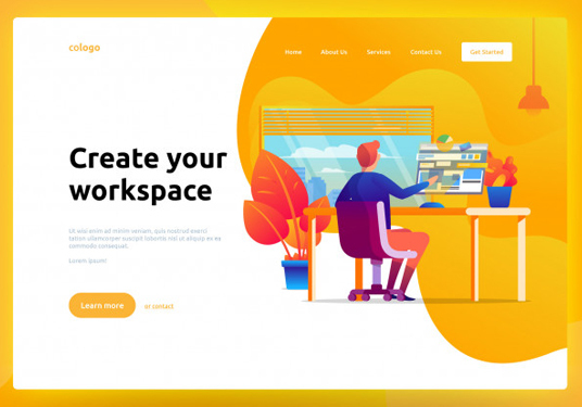 I will design awesome flat  style illustration for landing page