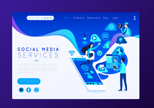 design awesome flat  style illustration for landing page
