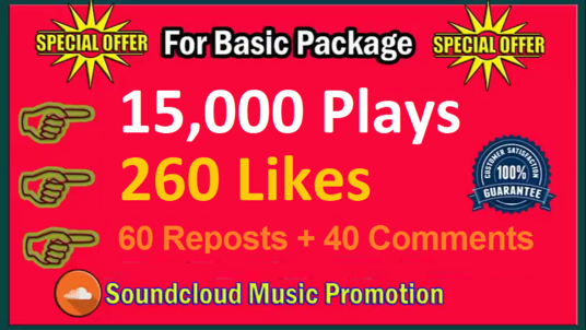 do 15,000 Plays + 260 SoundCloud Like + 60 Reposts + 40 Comments