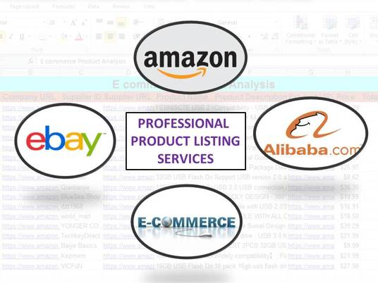I will provide professional amazon, ebay, alibaba etc. E commerce product listing services